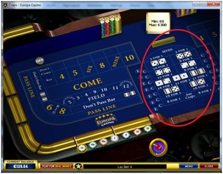 craps online single roll bets